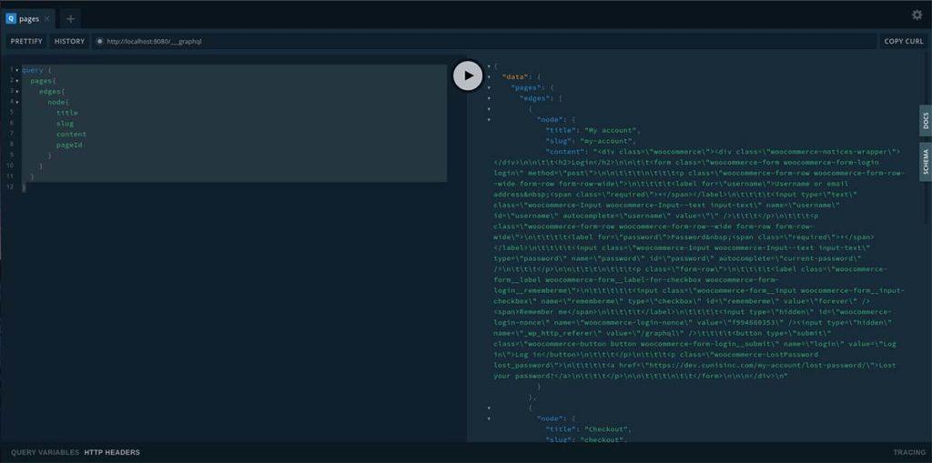 GraphQL explore page